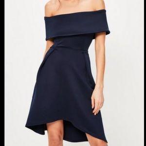 MISSGUIDED Navy Bardot Skater Dress | NEW!
